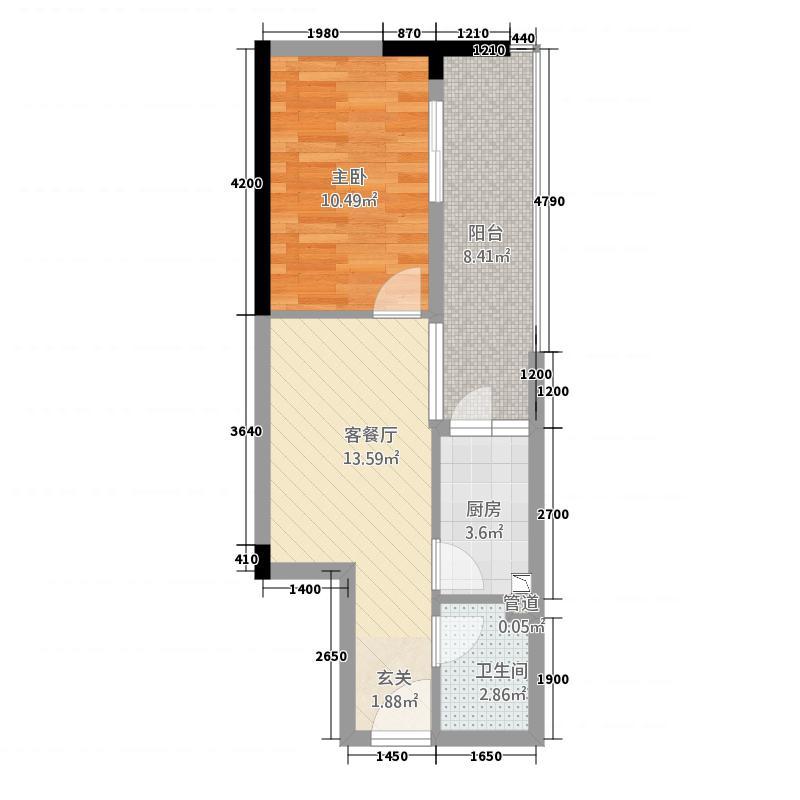 万千城4.61㎡一期A区L型标准层B-13户型1室2厅1卫1厨