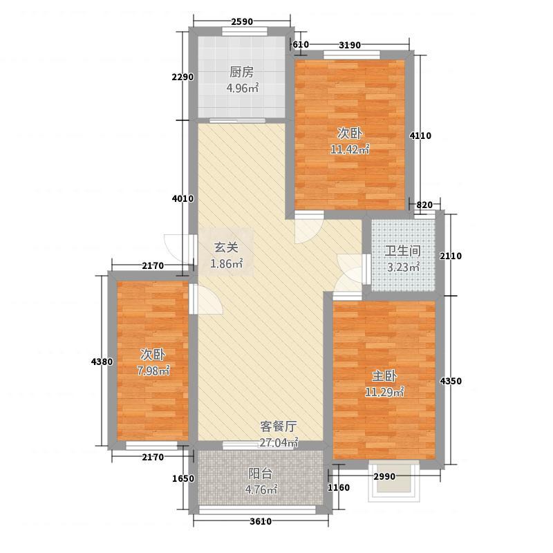 颖都・金鼎国际12.20㎡颖都金鼎国际3-2-1-户型3室2厅1卫1厨