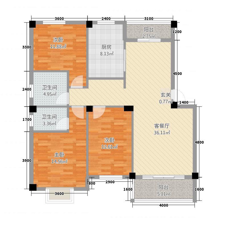 鑫盛国际32117.54㎡G户型3室2厅2卫1厨