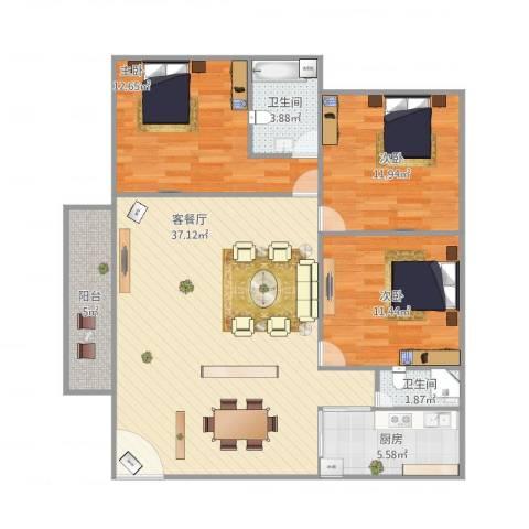 乐怡花园3室1厅2卫1厨120.00㎡户型图