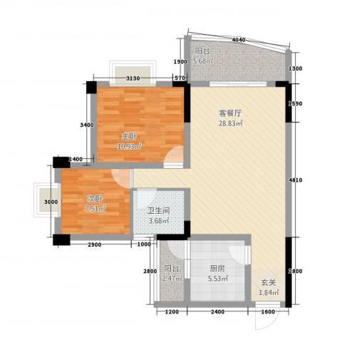 尚赏居2室1厅1卫1厨83.00㎡户型图
