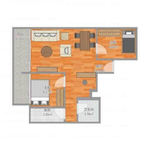 君临天下2室1厅1卫1厨65.00㎡户型图