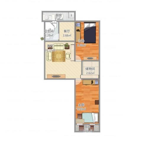 老屯铁路小区2室2厅1卫1厨56.00㎡户型图