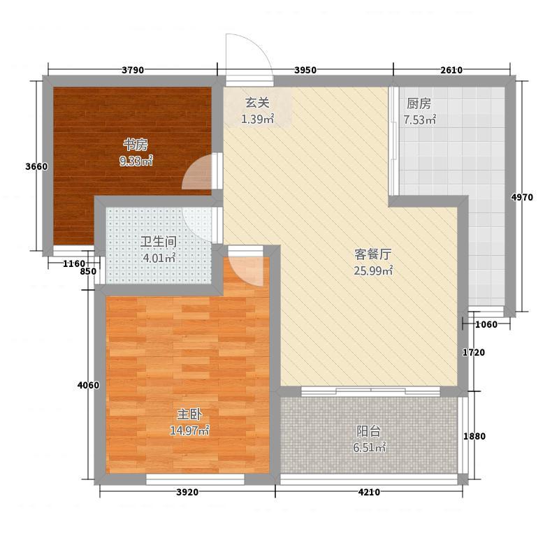 丰润・名苑丰润名苑2-2-1-户型2室2厅1卫1厨