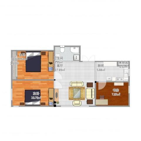 新桥城3室1厅1卫1厨79.00㎡户型图