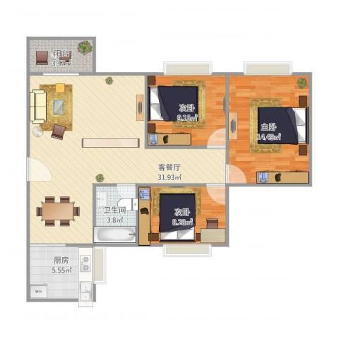 基业花园3室1厅1卫1厨103.00㎡户型图