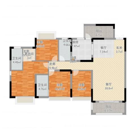 美丽湾畔花园4室1厅3卫1厨180.00㎡户型图