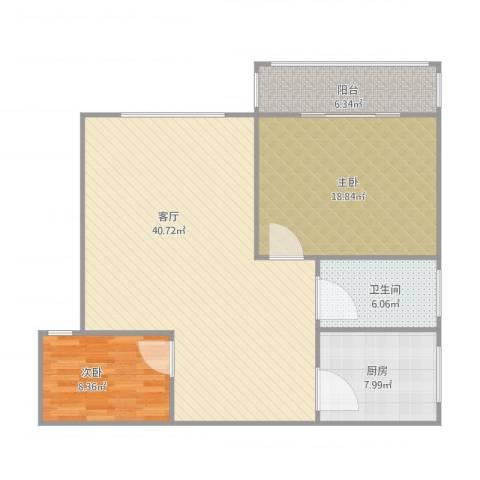 城市枫景2室1厅1卫1厨94.00㎡户型图
