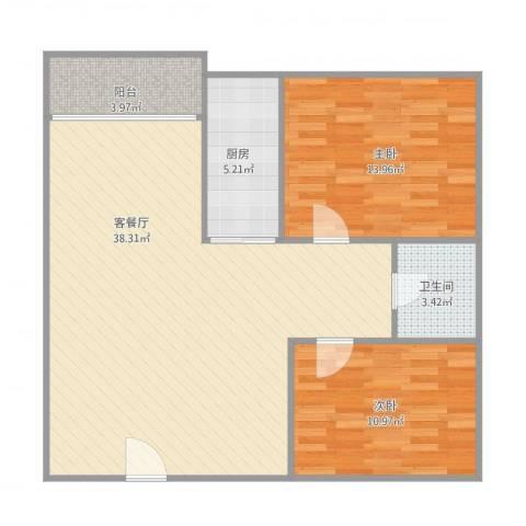 东方广场2室1厅1卫1厨101.00㎡户型图