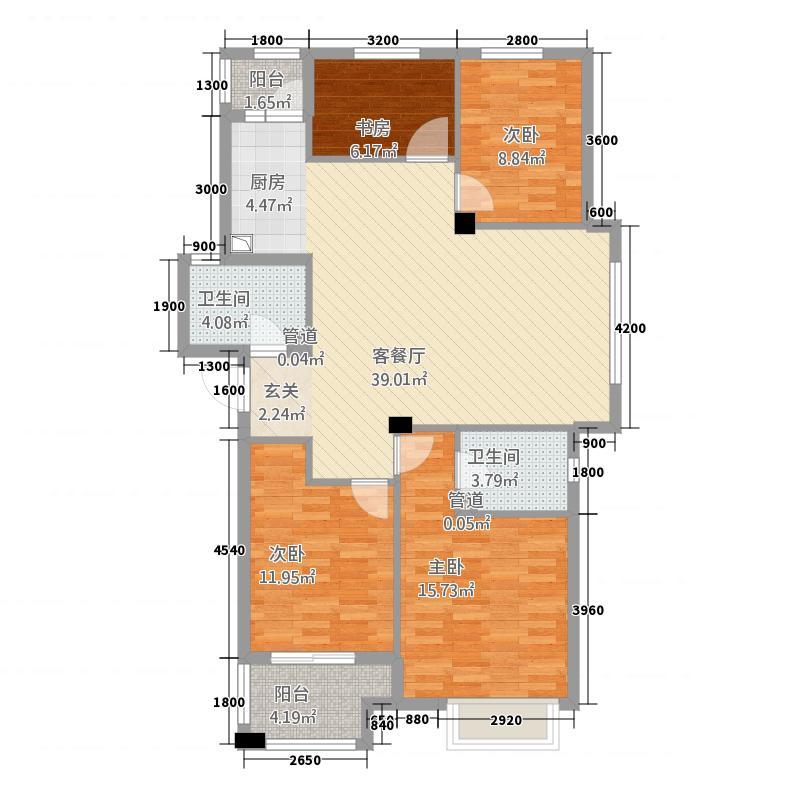 青山鹤岭4212.20㎡J户型4室2厅2卫1厨