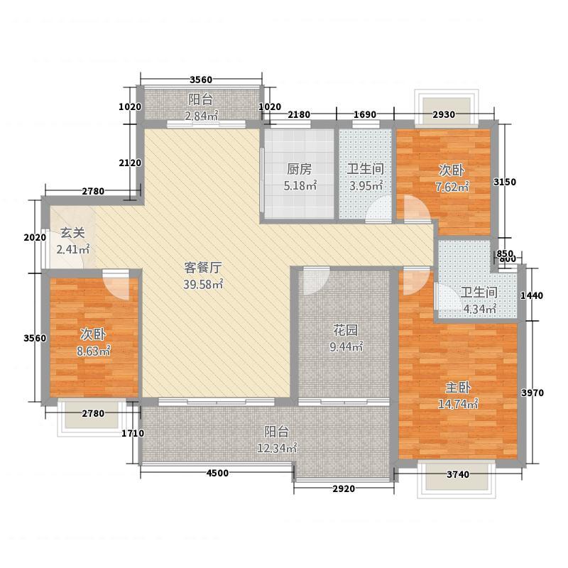 城市代号34141.54㎡3/4号楼F户型4室2厅2卫1厨