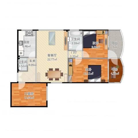 天河计经大楼4室1厅2卫1厨113.00㎡户型图