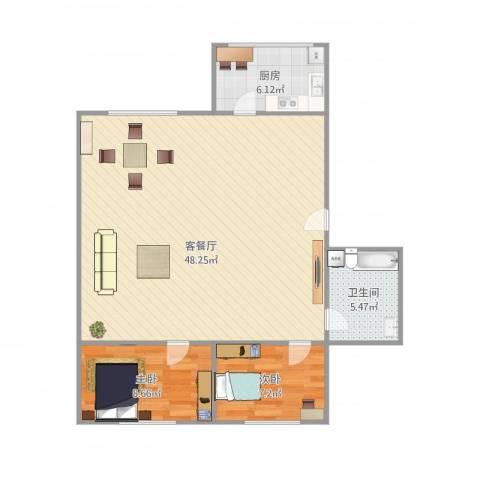 天泉山庄2室1厅1卫1厨100.00㎡户型图