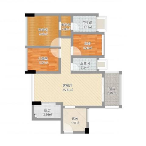 尚书悦府2室1厅2卫1厨107.00㎡户型图