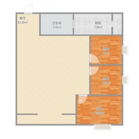 银凯家园3室1厅1卫1厨121.00㎡户型图