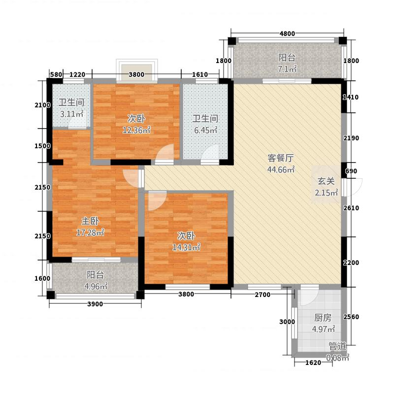 福泰・锦江国际3146.62㎡3#楼A户型3室2厅2卫1厨