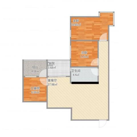 国税宿舍3室1厅1卫1厨89.00㎡户型图