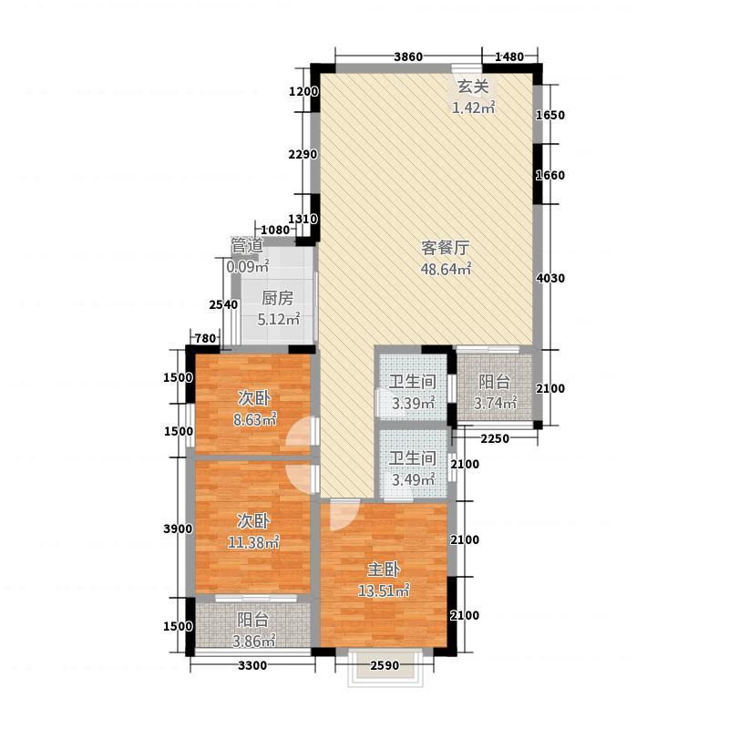 福泰・锦江国际313.22㎡3#楼C户型3室2厅2卫1厨