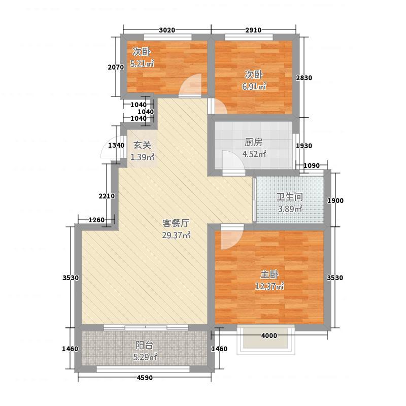 紫金名城37.82㎡户型3室2厅1卫1厨