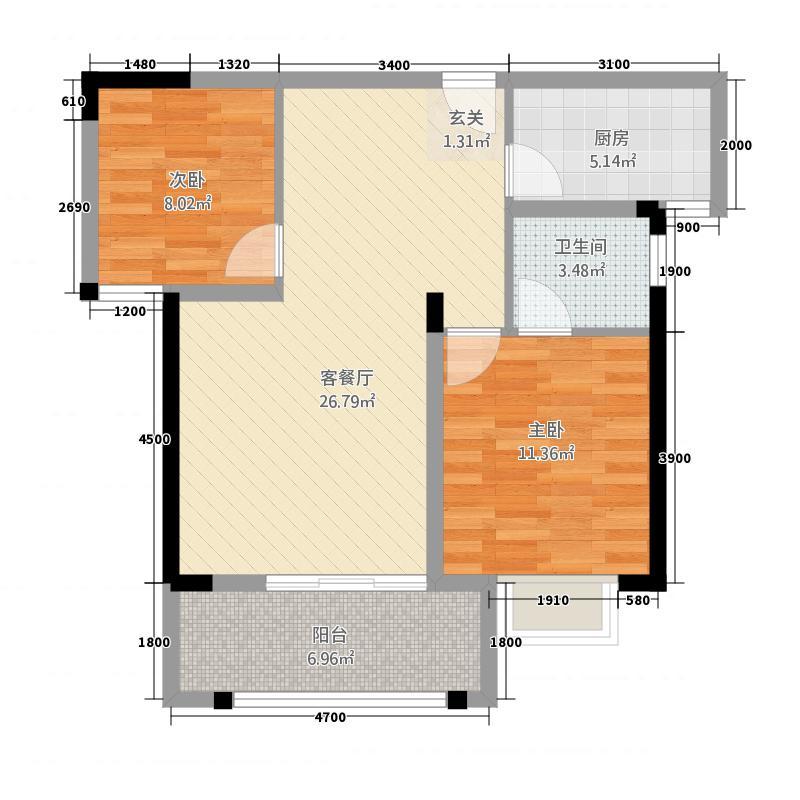 锦绣江山2285.20㎡F户型2室2厅1卫1厨