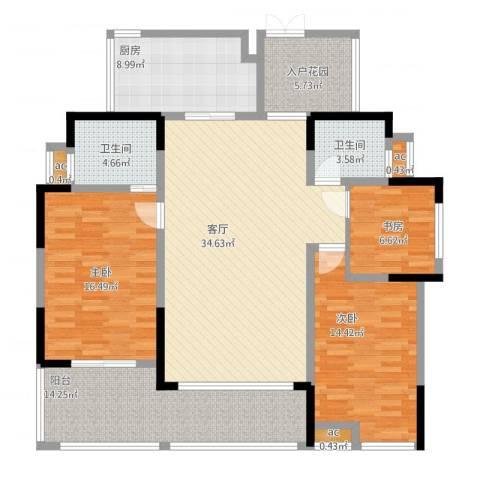 万友七季城3室1厅3卫2厨158.00㎡户型图