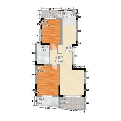 海宸世家2室1厅2卫0厨143756128.00㎡户型图