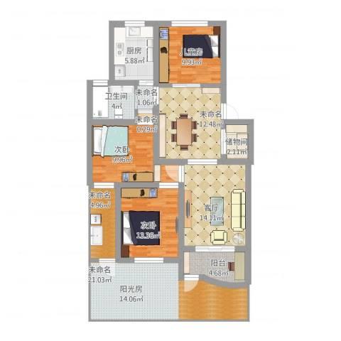 贝越佳园3室1厅1卫1厨154.00㎡户型图