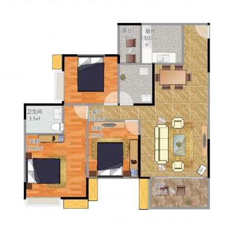 鸥鹏凤凰国际新城3室1厅2卫1厨116.00㎡户型图