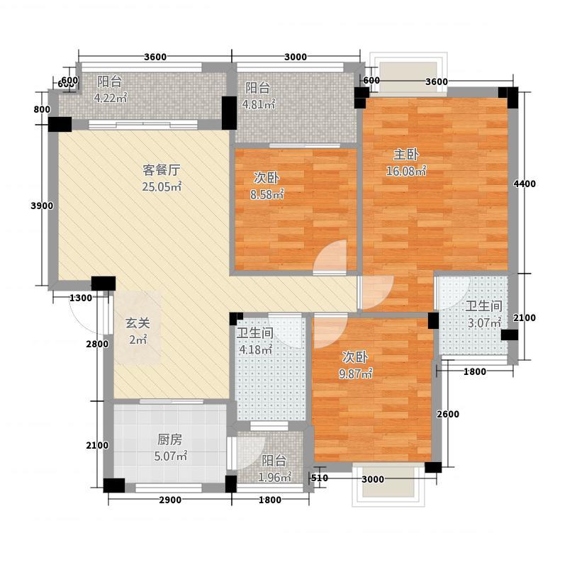 方瑞・城市广场12.54㎡方瑞城市广场D户型3室2厅2卫1厨