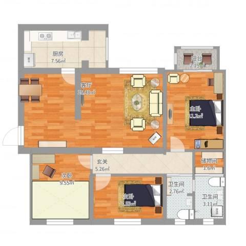 风雅园三区3室1厅2卫1厨111.00㎡户型图