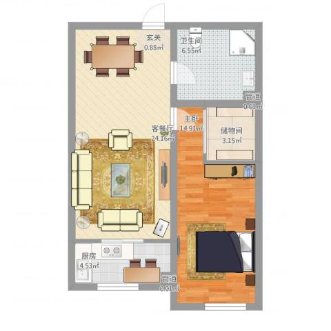 中油呼炼小区1室1厅1卫1厨76.00㎡户型图