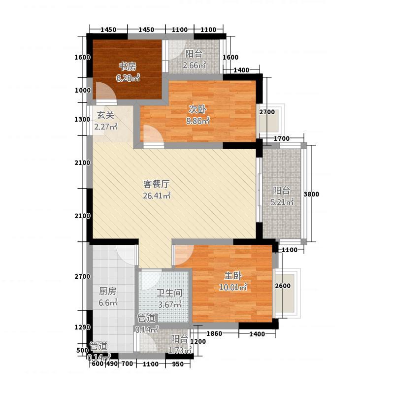�州府8.00㎡户型3室2厅1卫1厨