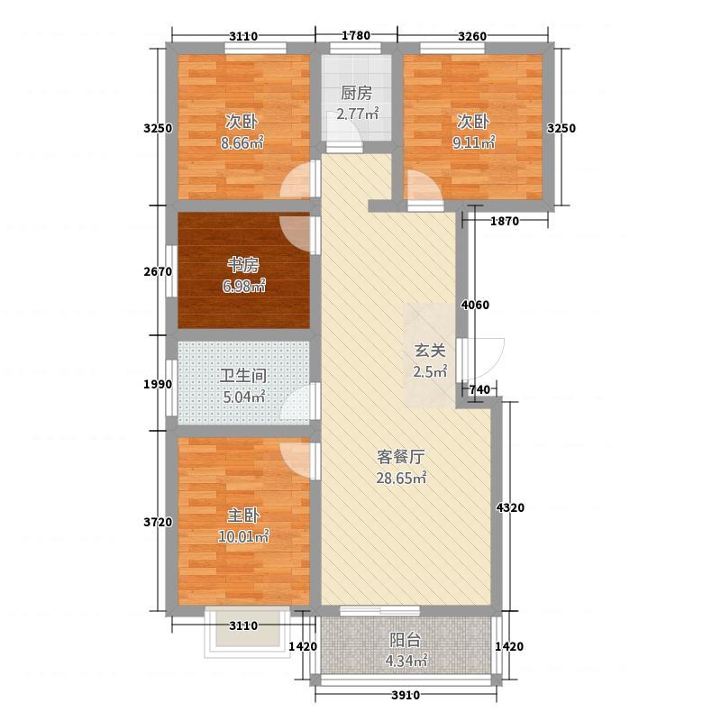 中兴融园5111.20㎡5(1)_副本户型4室2厅2卫1厨