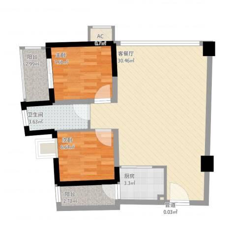 波士堂2室1厅1卫1厨84.00㎡户型图