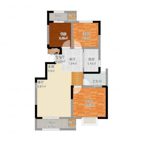 荣御华府3室1厅1卫1厨131.00㎡户型图