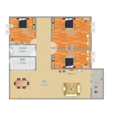 碧湖花园3室1厅1卫1厨122.00㎡户型图