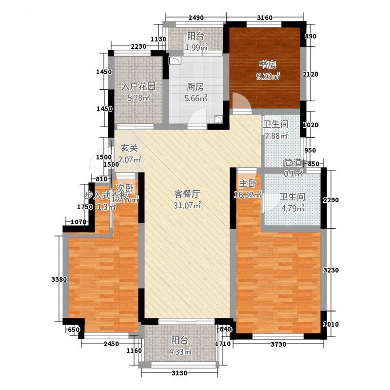 悦上海141.00㎡一期C1户型3室2厅2卫1厨