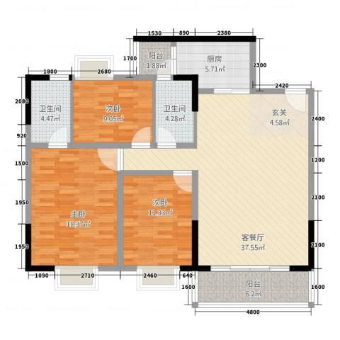 盈丰・星际豪庭3室1厅2卫1厨141.00㎡户型图