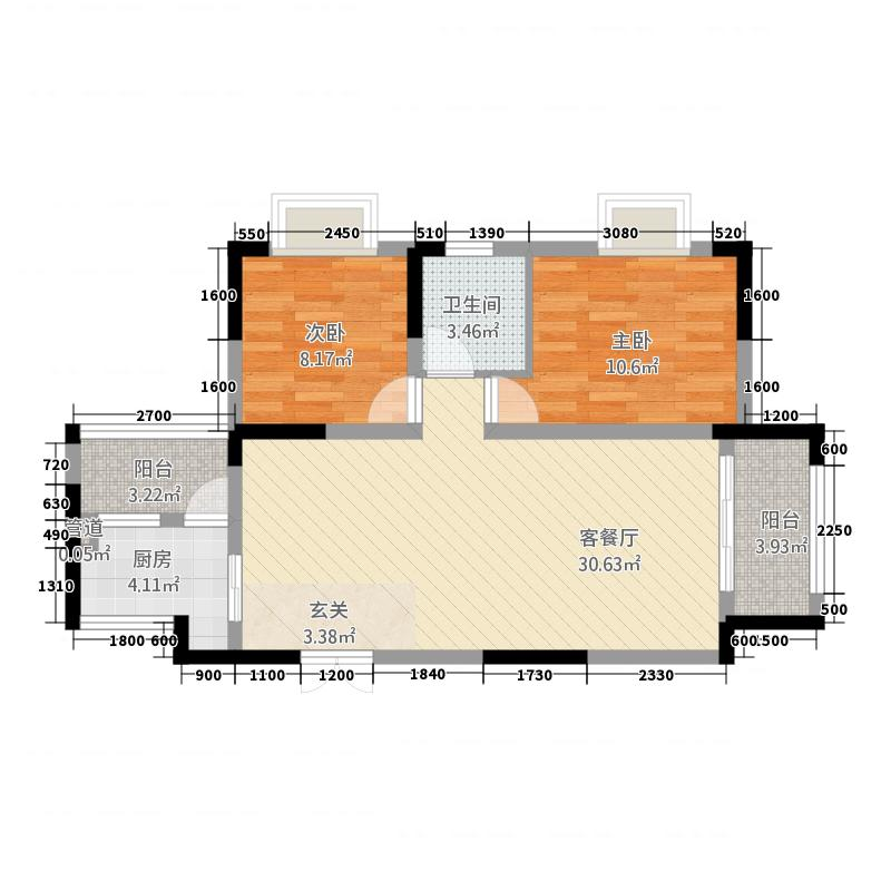 昌龙阳光尚城47.88㎡一期4幢标准层4-6户型2室2厅1卫1厨