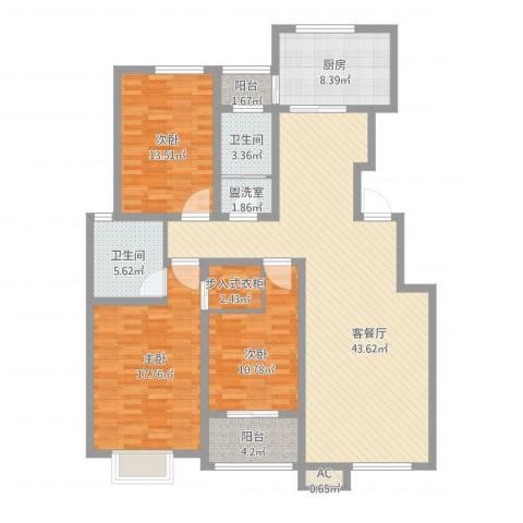 领秀庄园二期3室1厅3卫2厨164.00㎡户型图