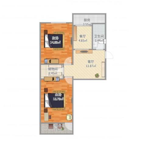 无影山新村2室2厅1卫1厨83.00㎡户型图