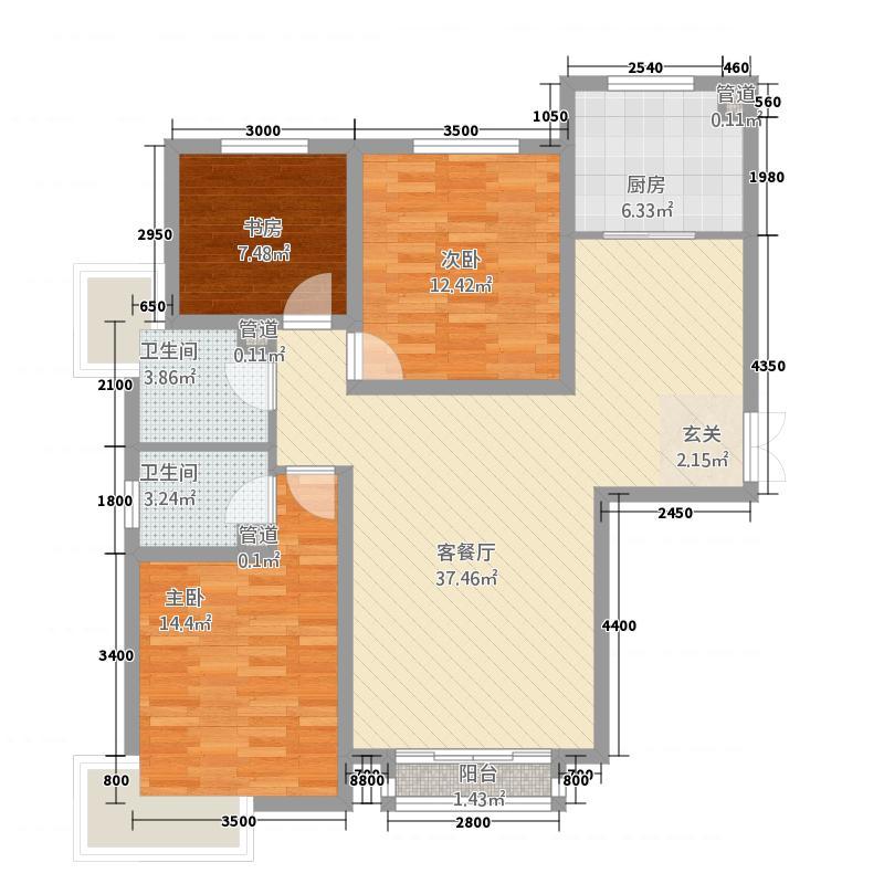 良志嘉年华二期32135.63㎡3-户型3室2厅2卫1厨
