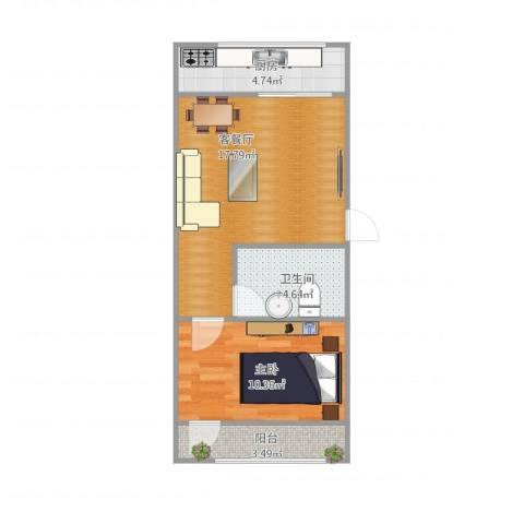 七里河小区1室1厅1卫1厨56.00㎡户型图