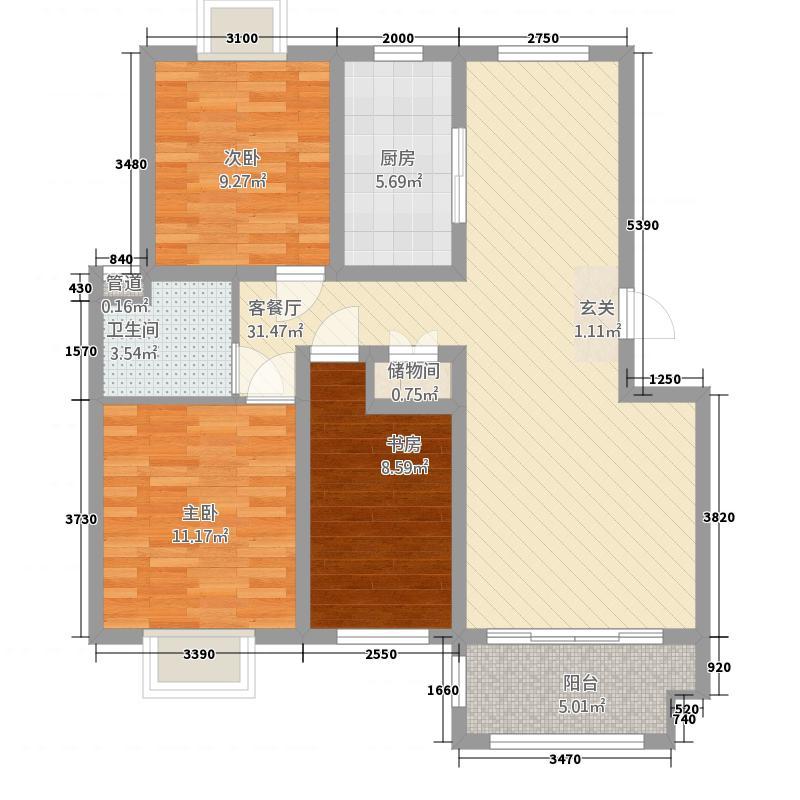 文鼎嘉苑3211.20㎡A户型3室2厅1卫1厨