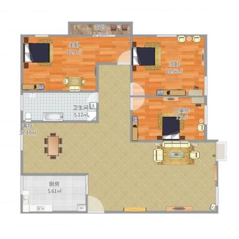 富南广场3室1厅1卫1厨108.00㎡户型图