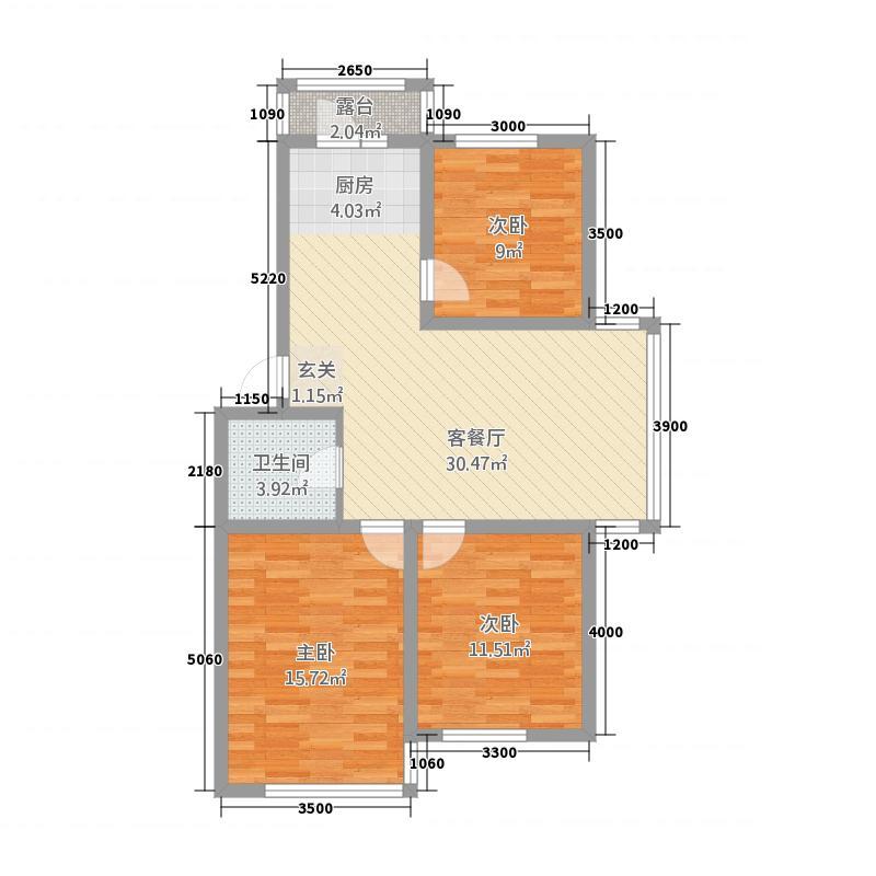 亿甲尚府3.20㎡B-明逸居户型3室2厅1卫