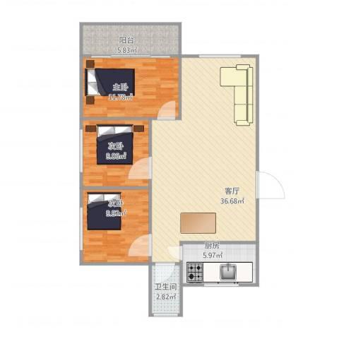 岭兜小区3室1厅1卫1厨110.00㎡户型图