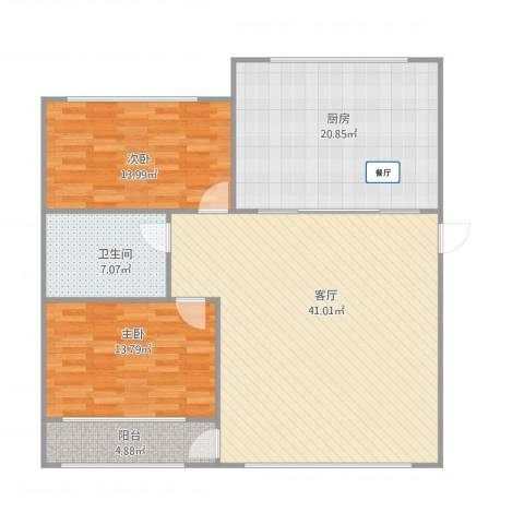 帝欧花园85平两室户型2室1厅1卫1厨134.00㎡户型图