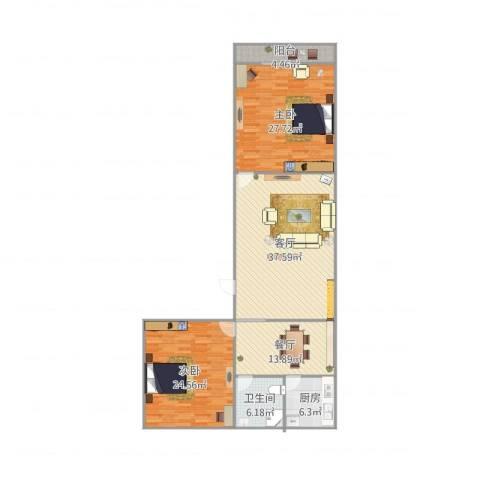 无影山新村2室2厅1卫1厨160.00㎡户型图
