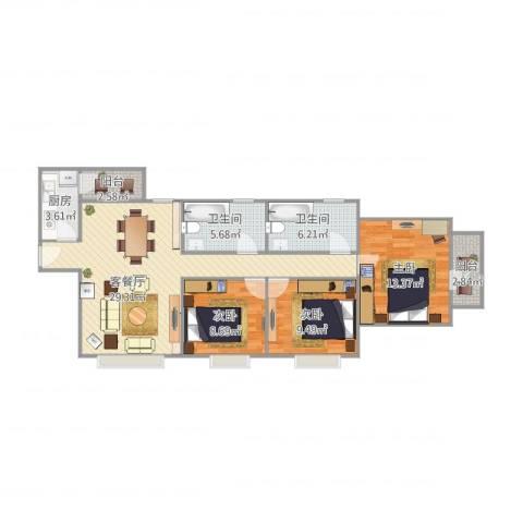 恒宝华庭3室1厅2卫1厨111.00㎡户型图